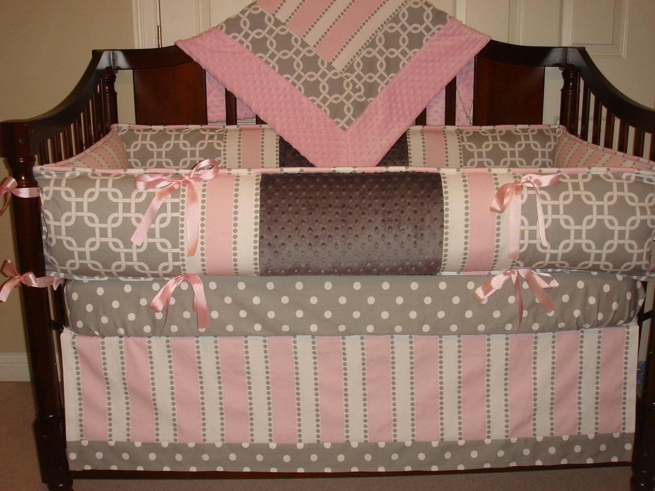 Custom Crib Bedding Set 4 Pc Gray Pink Reserved For Justine