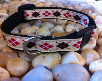 "1/2"" Width Cat Collar - Red/Black/Natural Argyle"