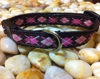 "1/2"" Width Cat Collar - Brown/Pink Argyle"