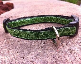 """1/2"""" Width Dog Collar - Green Glitter"""