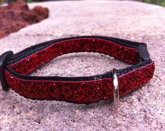 """1/2"""" Width Cat Collar - Red Glitter"""