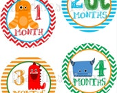 Monthly Baby Boy Stickers, Milestone Stickers, Baby Month Stickers, Monthly Bodysuit Sticker, Monthly Stickers Chevron (Monsters)