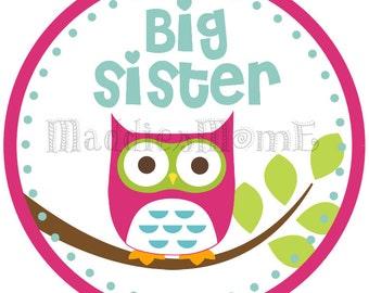Custom Owl Big Sister Iron on Transfer
