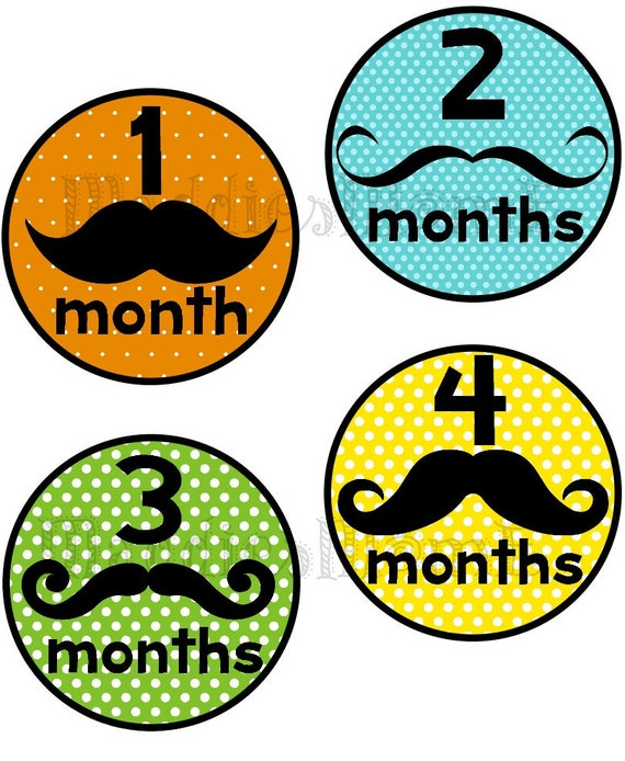 Monthly Baby Boy Stickers Baby Month Stickers, Monthly Bodysuit Sticker, Monthly Stickers Little Man (Mustache)