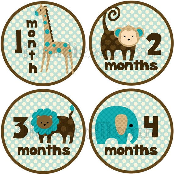Monthly Baby Boy Stickers, Baby Month Stickers, Monthly Bodysuit Sticker, Monthly Stickers, Milesone Stickers Jungle Animals (Justin)