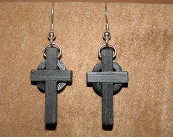 Bog Oak Celtic Cross earrings