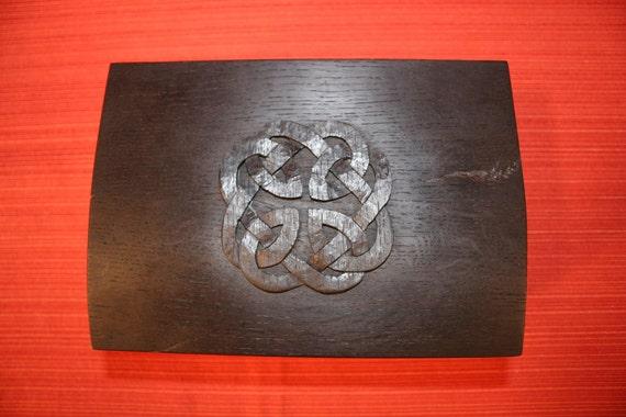 Decorative Bog Oak Box with Hand-Carved Celtic Knot
