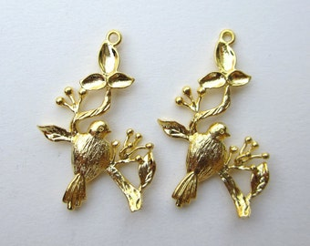 6 Pcs  - 30x15 MM  -   Gold Plated Bird On Twig Connector Pendant Charm with 2 rings