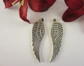 4 pcs -  Antique Silver Plated, Lead Free, Angle Wing Charm (9x30x1MM)
