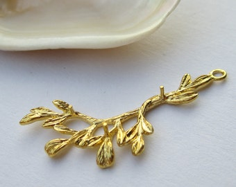 4 Pcs  -  Gold Plated Twig Charm/ Pendant (38x19MM)