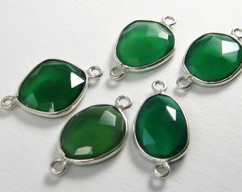 New Arrival - 1 Pc - Genuine Faceted Green Onyx Connector, Findings With Sterling Silver Bezel Rim C5258