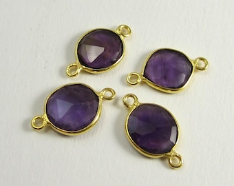 1 Pc - Genuine Faceted Amethyst Connector With Gold Plated Over 925 Sterling Silver Bezel Rim,Findings,Earring,Jewelry Finding C5156