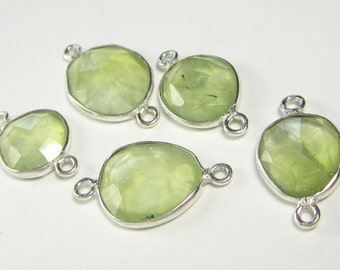 2 Pcs - 925 Sterling Silver Bezel Rim,Genuine Faceted Prehnite Chalcedony Connector,Earring,Pendant,Link,Charm,Jewelry Finding C5263