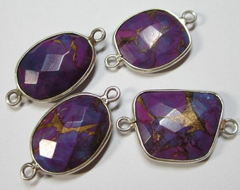 1 Pc -  925 Sterling Silver Bezel Rim,Genuine Faceted Purple Mohave Turquoise Connector,Earring,Pendant,Link,Charm,Jewelry Finding C5231