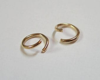 50 Pcs  -  8MM  -  14K Gold  Plated  Over Brass Jump Ring - Open