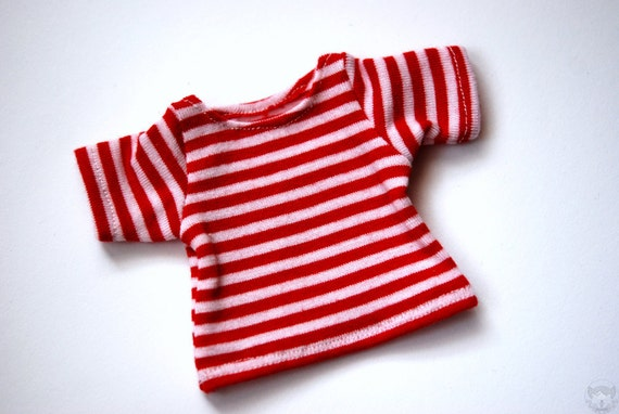 YoSD Clothes Red x White Striped T-Shirt For BJD Dolls - Last One