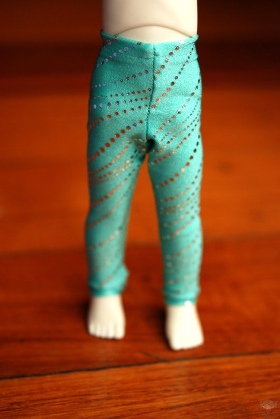 YoSD Mint Silver Foil Spot Leggings For Ball Jointed Dolls - Last Pair
