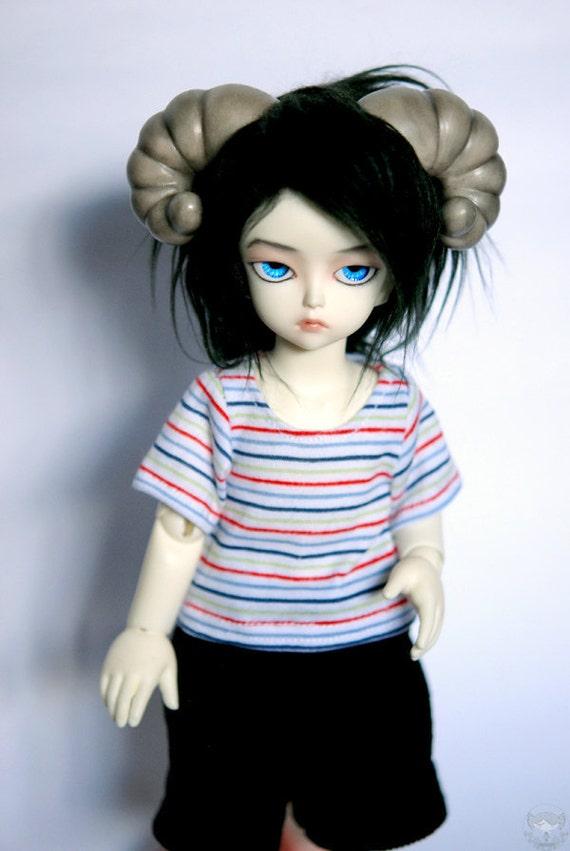 BJD YoSD White X Blue X Red Striped T Shirt