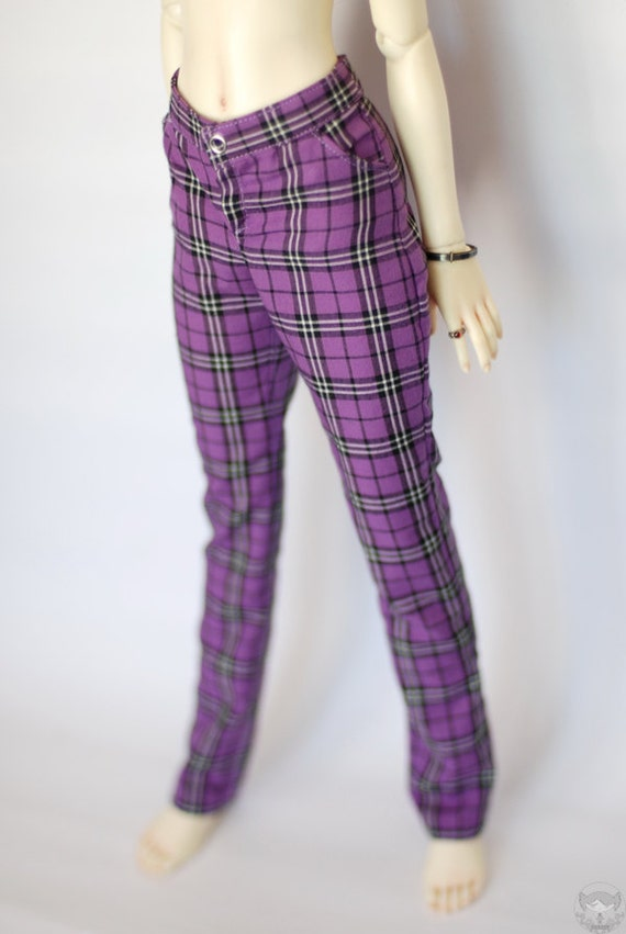 SD Purple Plaid Pants For Delf Girl