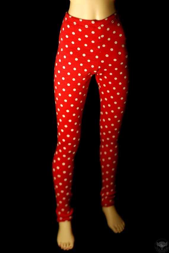 SD Clothes Red And White Polka Dot Leggings For BJD Last