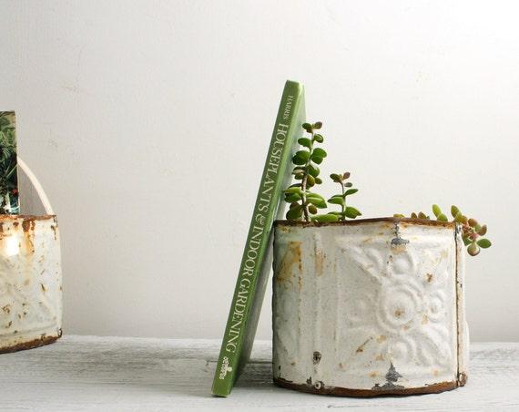Round Planter Made of Antique Tin Tiles
