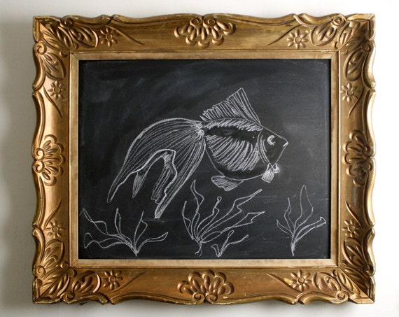 Storybook Style Chalkboard in Vintage Wooden Frame