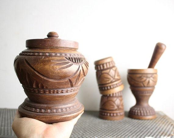 Vintage Carved Wooden Muddler or Mortar and Pestle