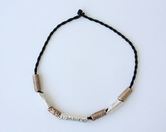 Bronze and Silver Rope Necklace