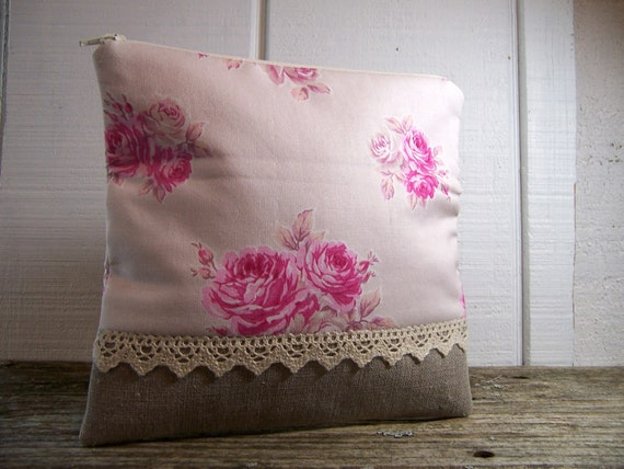 Cosmetic case,zipper pouch,clutch in roses with lace.