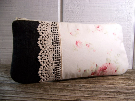 Large Clutch in romantic shabby chic with pretty lace and dark gray linen.
