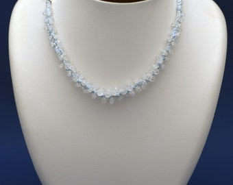 MOONSTONE (light blue kumihimo necklace with genuine faceted blue fire moonstones)