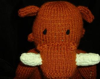 Hand Knit Wally Warthog Stuffed Toy