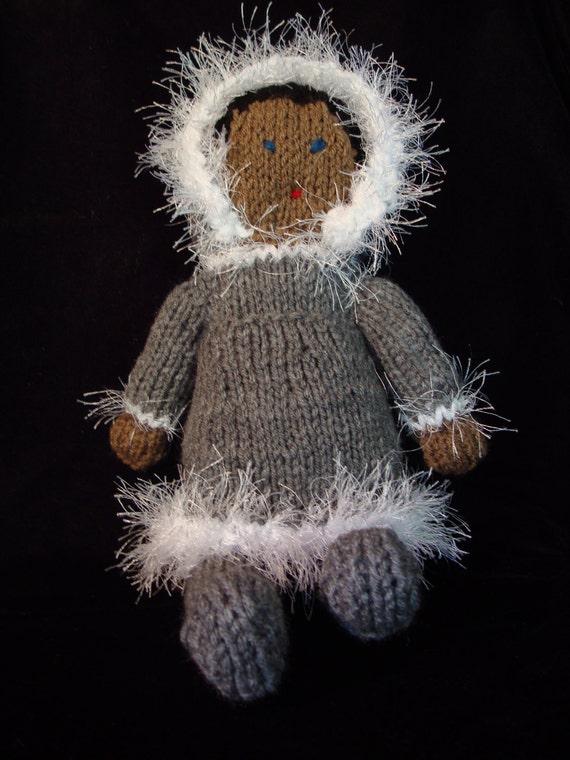 Hand knit Eskimo Doll