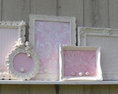 Decorative Ornate Framed Vintage  and Vintage inspired  Magnet Boards-  Set of Five-  Pink- Nursery,  Shabby Chic- playroom- bedroom