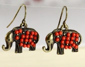 lovely elephant earrings, with red beads