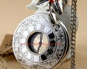 big size Retro style Roman numerals Pocket watch Locket Necklace, with a leaf,ON SALE