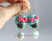 day of the dead, lovely Turquoise skull earrings, with red rose