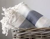 Turkish Towel - Linen - Grey Wide Stripes