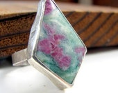 Genuine Ruby in Fuchsite sterling silver cocktail ring OOAK  size 7