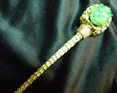 Signed De Nicola Queen's Scepter Brooch or Magic Wand with Jadite Glass Flowers