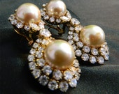 Large Rhinestone and Faux Pearl Attention Getting Earrings 14K Mark on post