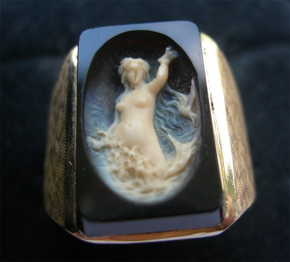 RESERVED for Sandy Jen Payment 1 of 2 - Gorgeous Antique Cameo Mermaid Nude Ring in 14K Gold
