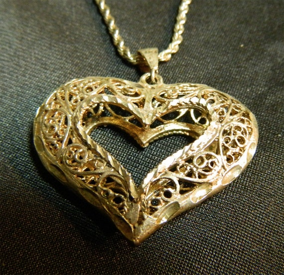 Sterling Silver Filigree Heart On Twisted Sterling Chain