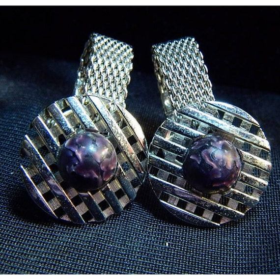 Mesh Cufflinks With Purple Centers