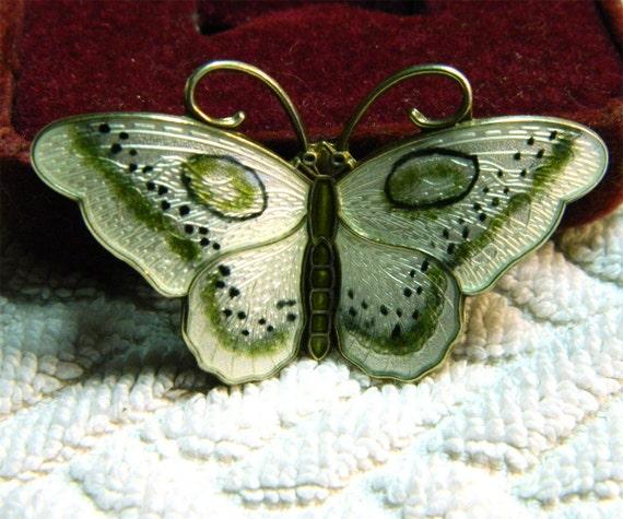 JEJ Hroar Prydz Norway Sterling Butterfly - 2 in - Sterling and Enamel - Green White Black
