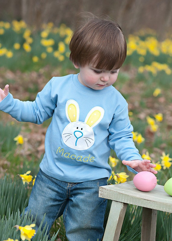 Personalized Easter Bunny Embroidered T-shirt - Monogrammed T-Shirt - Boys Easter Shirt