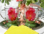 Flowered hand painted glass mugs.  Tea for two.