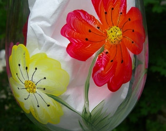 Pretty Poppies hand painted wine glasses