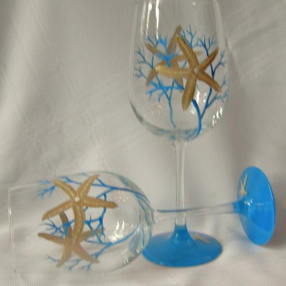 Starfish hand painted wine glasses