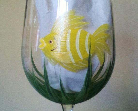 Yellow fish hand painted wine glass